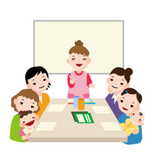 小学校の夜のPTA会議にお子さんを連れて行く人は多いです